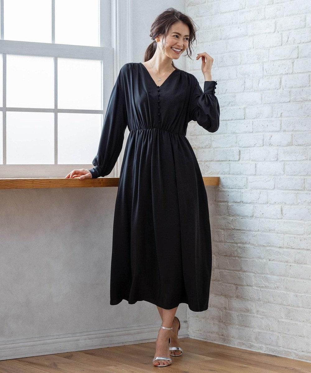 組曲 【PRIER】ボリュームスリーブVネックギャザーロング ドレス ブラック系