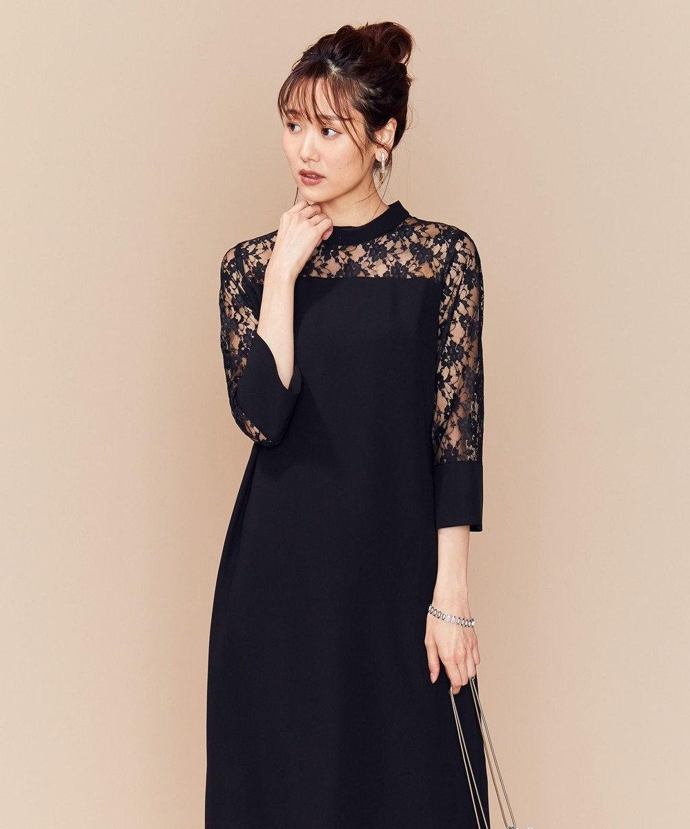 組曲 S 【PRIER】レーススリーブサックワンピース ドレス ブラック系