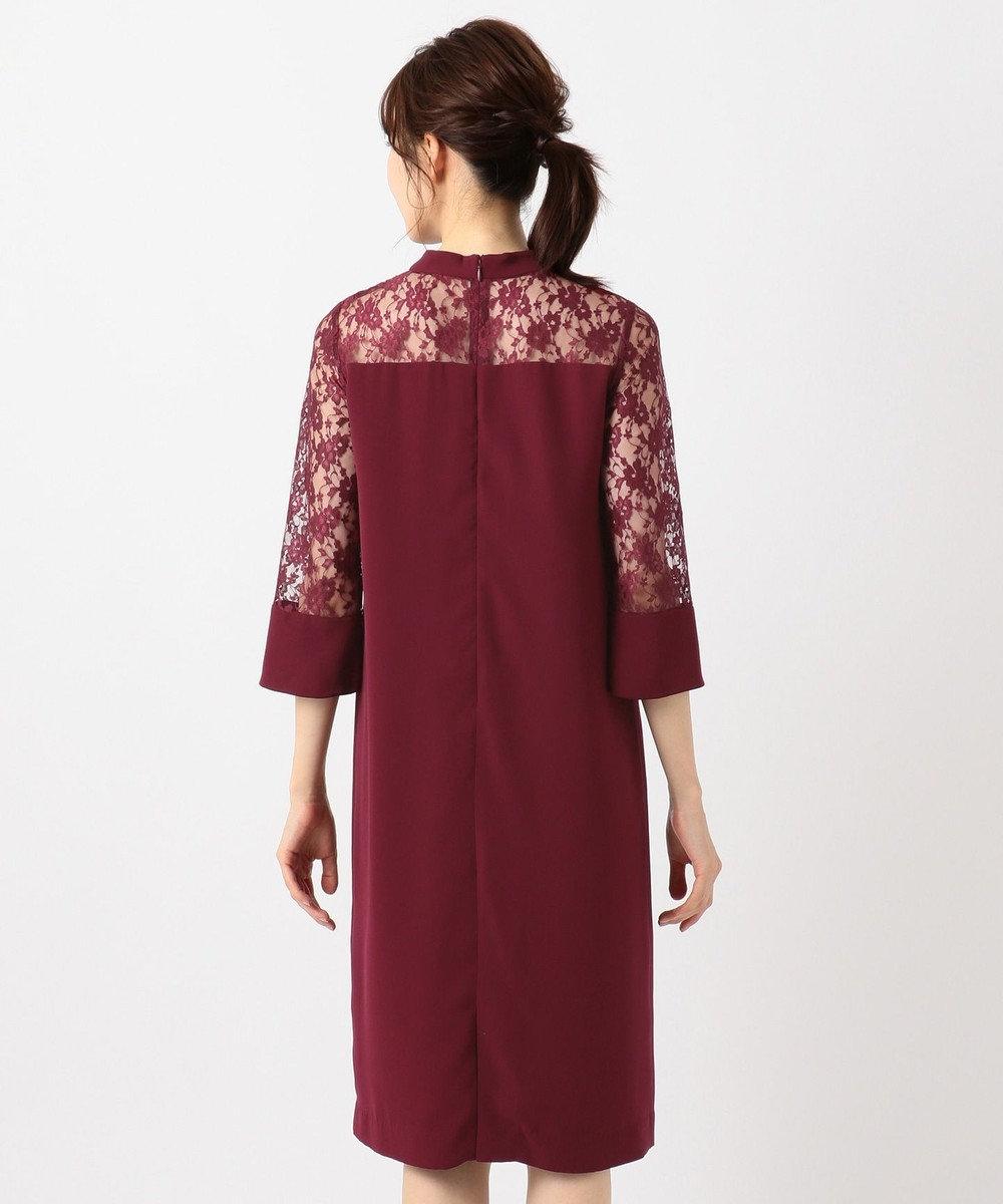組曲 S 【PRIER】レーススリーブサックワンピース ドレス ワイン系