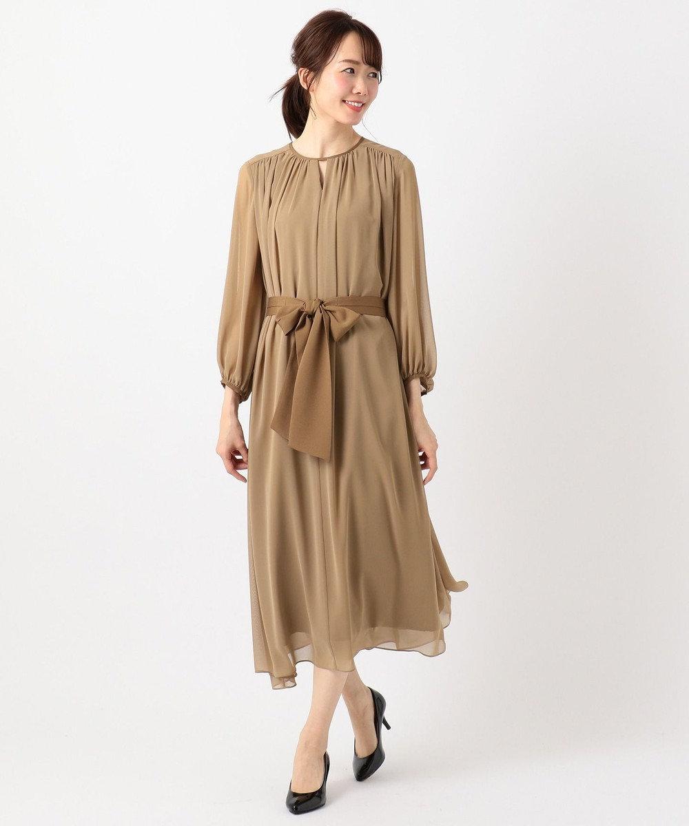 組曲 S 【PRIER】BIGリボンギャザーロングワンピース ドレス キャメル系