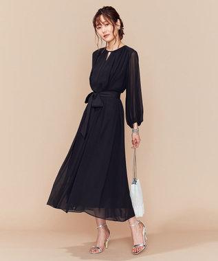 組曲 S 【PRIER】BIGリボンギャザーロングワンピース ドレス ブラック系