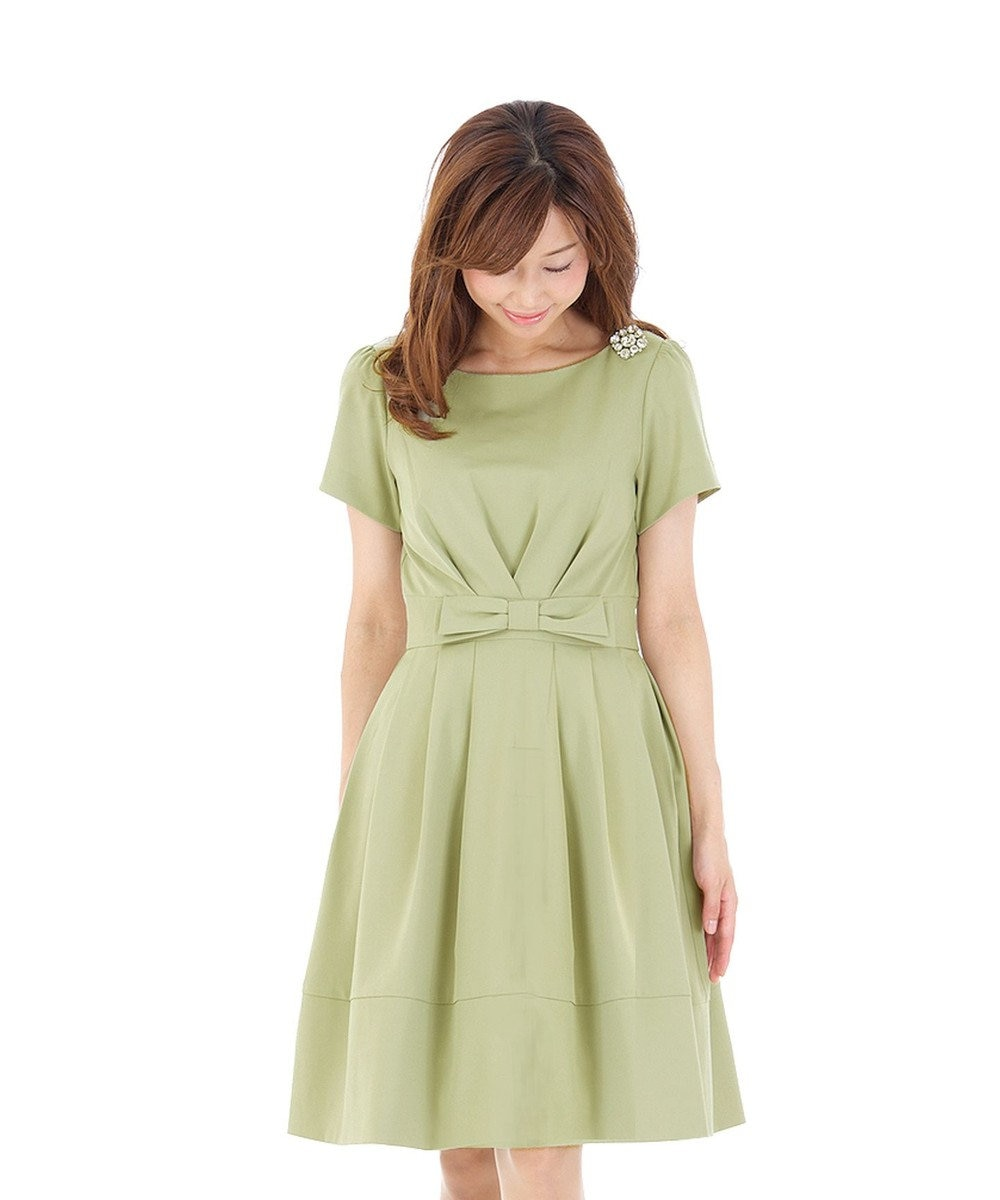 Tiaclasse 花のように愛らしく可憐なリボンワンピース【半袖】 グリーン