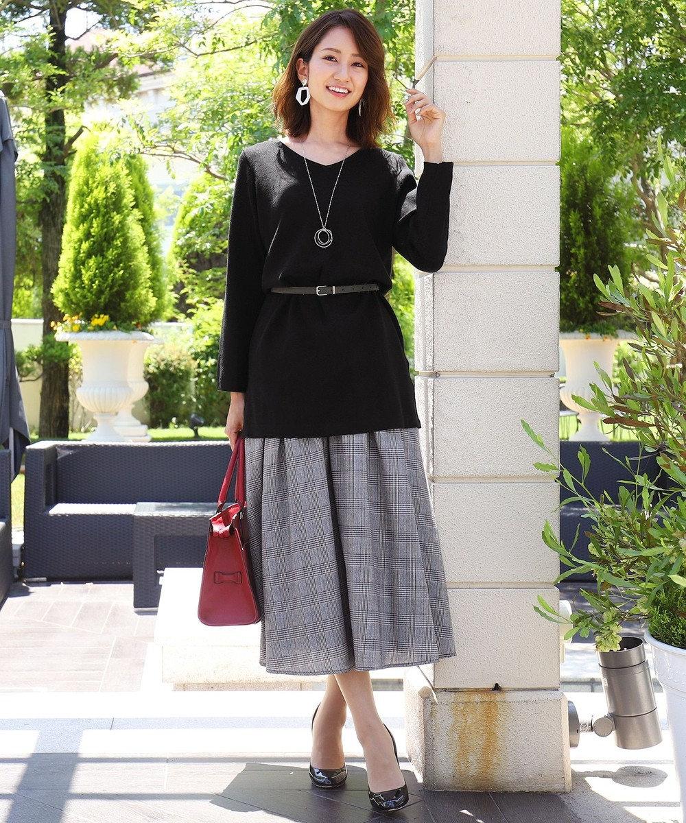 Tiaclasse 【洗える】きれい色で彩る、大人のマキシ丈フレアスカート グレンチェック