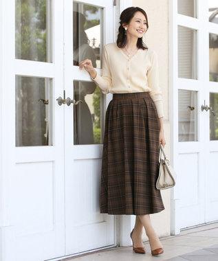 Tiaclasse 【洗える】きれい色で彩る、大人のマキシ丈フレアスカート ブラウンチェック