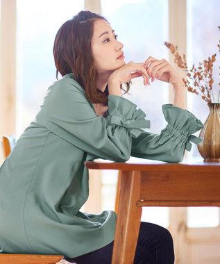 Tiaclasse 【洗える】女性らしさ薫る、リボンバルーン袖チュニック ミント