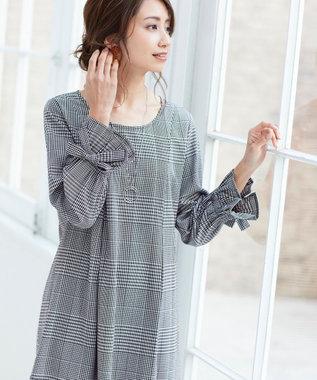 Tiaclasse 【洗える】女性らしさ薫る、リボンバルーン袖チュニック ブラックチェック