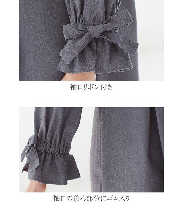 Tiaclasse 【洗える】女性らしさ薫る、リボンバルーン袖チュニック