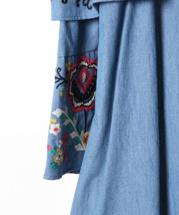 GRACE CONTINENTAL オフショルデニム刺繍ワンピース