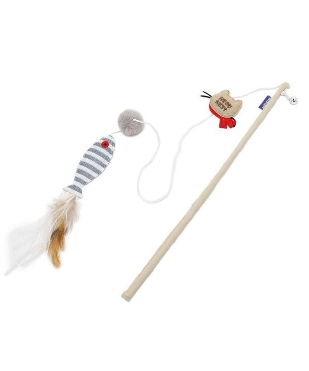 PET PARADISE ネコネスト 猫用おもちゃ 猫じゃらし ナチュラル 魚と羽