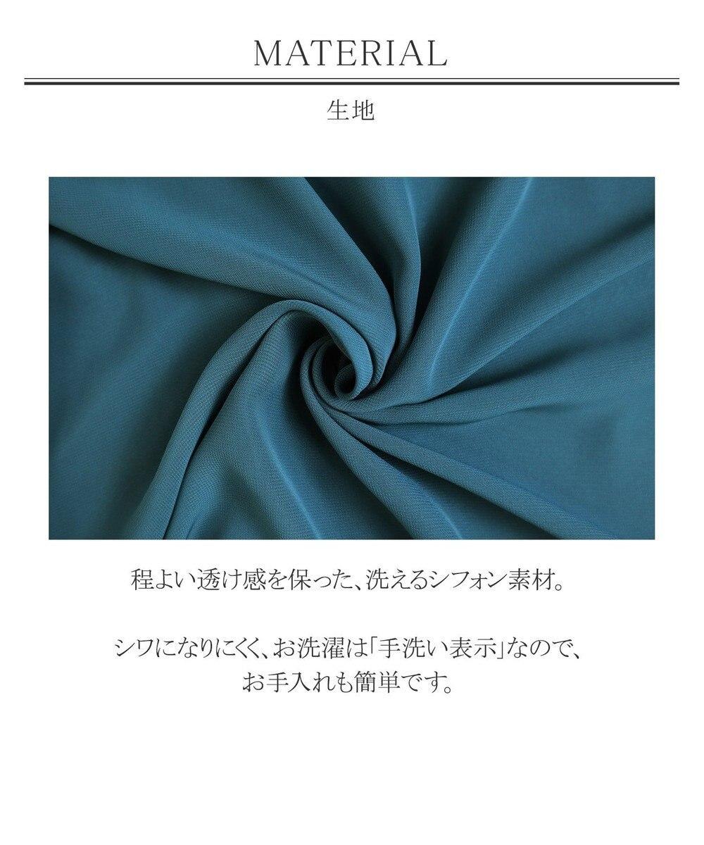 Tiaclasse 【洗える】大人世代の上品シフォンチュニック ネイビー
