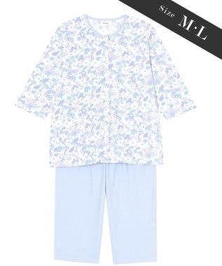Wing 【お値打ち品パジャマ】綿100%抽象花柄 ウイング/ワコール EP8916 サックス