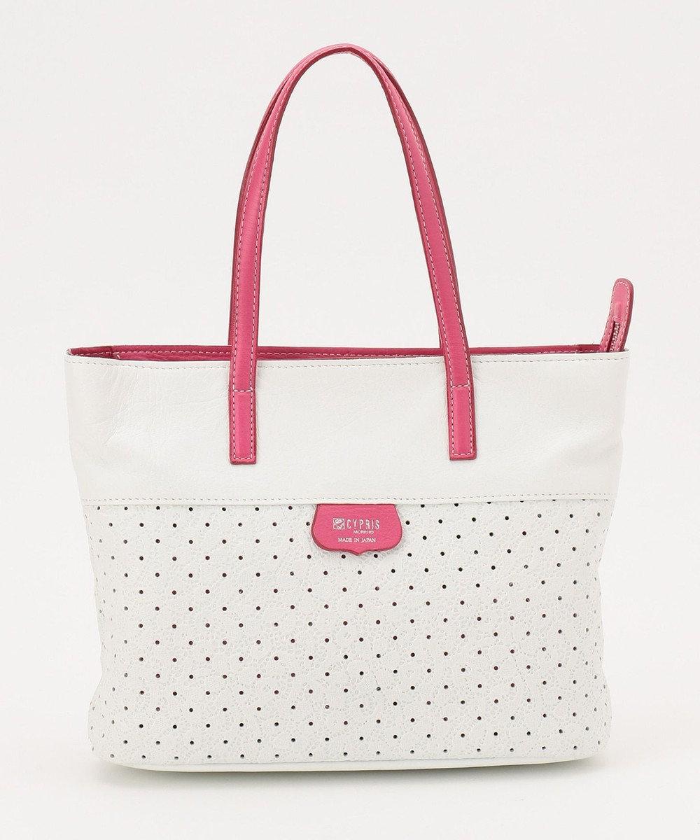 CYPRIS 【プンティーノ】日本製 牛革パンチングトートバッグ(S) ホワイト×ピンク[00]