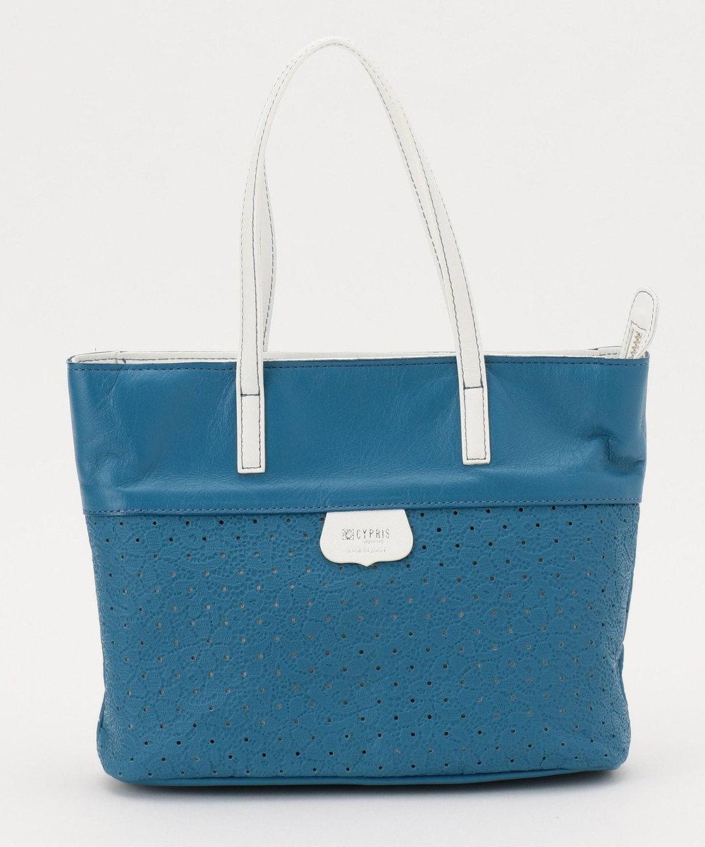 CYPRIS 【プンティーノ】日本製 牛革パンチングトートバッグ(S) ブルー×ホワイト[05]