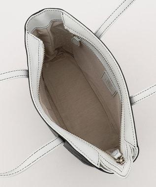CYPRIS 【プンティーノ】日本製 牛革パンチングトートバッグ(S) ブラック×ホワイト[01]