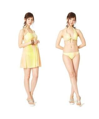 San-ai Resort(三愛水着楽園) 【INLET】ストライプグラデ ワイヤーパレオワンピ3点セット水着 イエロー