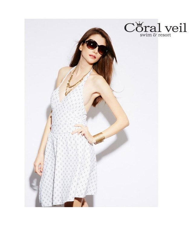San-ai Resort(三愛水着楽園) 【Coral veil】サークル スカート付ワンピース水着