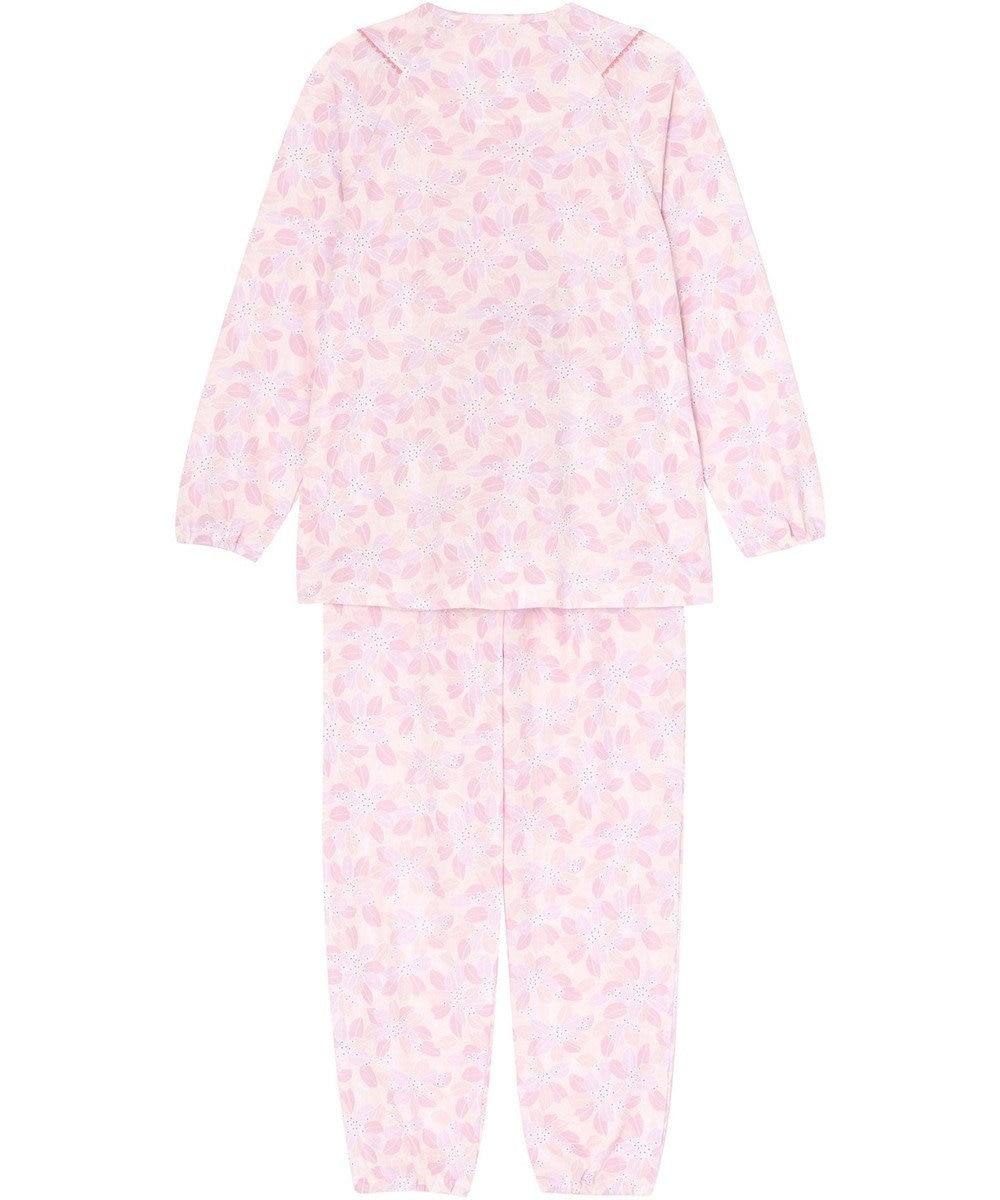 Wing 抽象的な葉と白抜き小花のブーケ柄パジャマ ウイング/ワコール EP5020 ピンク