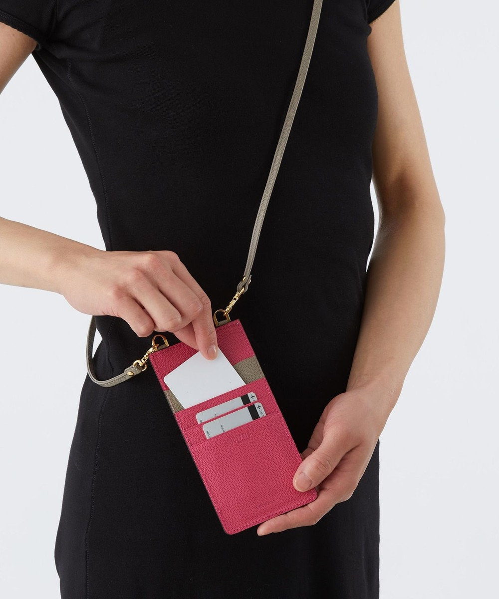 CYPRIS 【カード収納4枚】グラーノワークス スマホショルダー 日本製(iPhone 7,8,X,第二世代SE) ローズピンク×グレー[07]