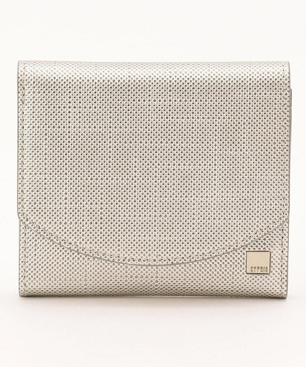 CYPRIS 【カード収納10枚】 ポン コンパクトハニーセル二つ折財布 日本製 シルバー[09]