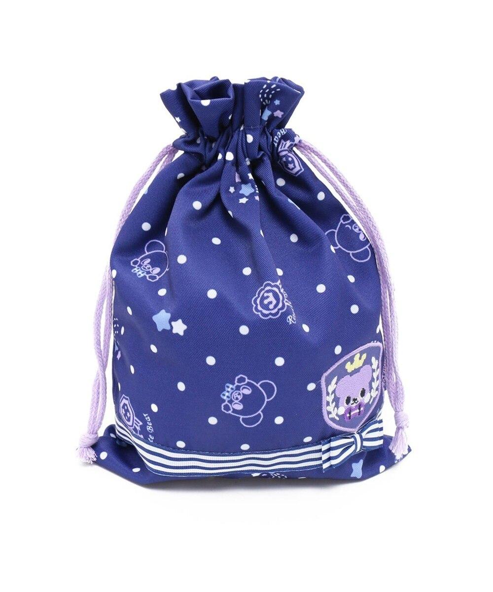 【オンワード】 Mother garden>財布/小物 マザーガーデン くまのロゼット キルト巾着小 紺(ネイビー・インディゴ) 0