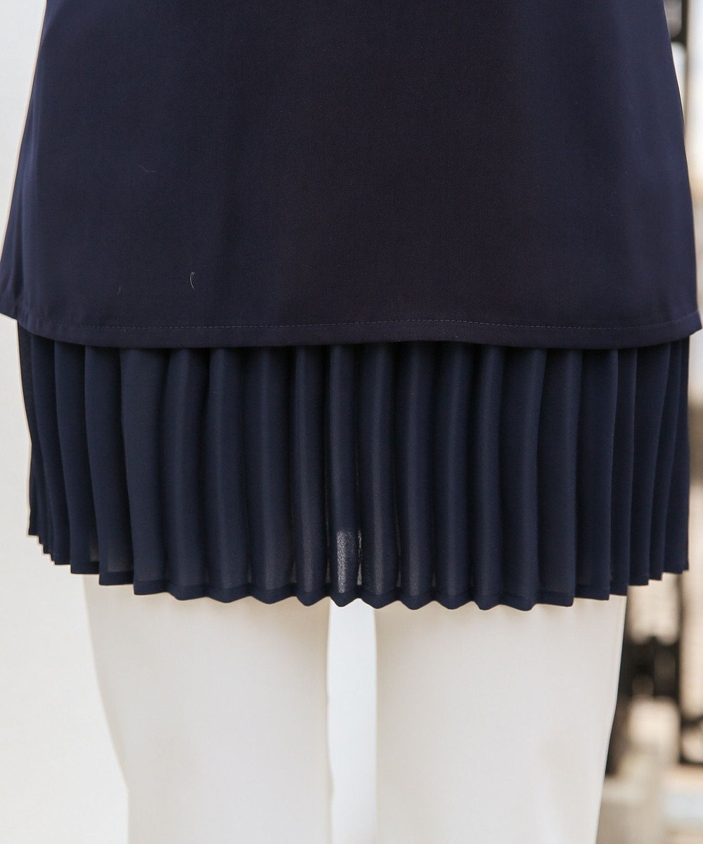 Tiaclasse 【洗える】レイヤード風プリーツ切替チュニック ネイビー