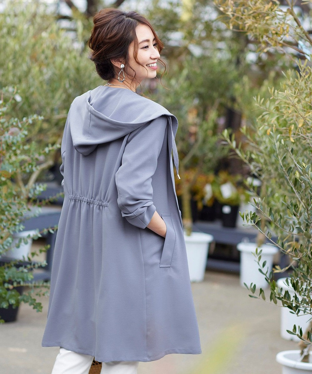 Tiaclasse 【洗える】軽さが魅力のフーテッドライトコート ブルー