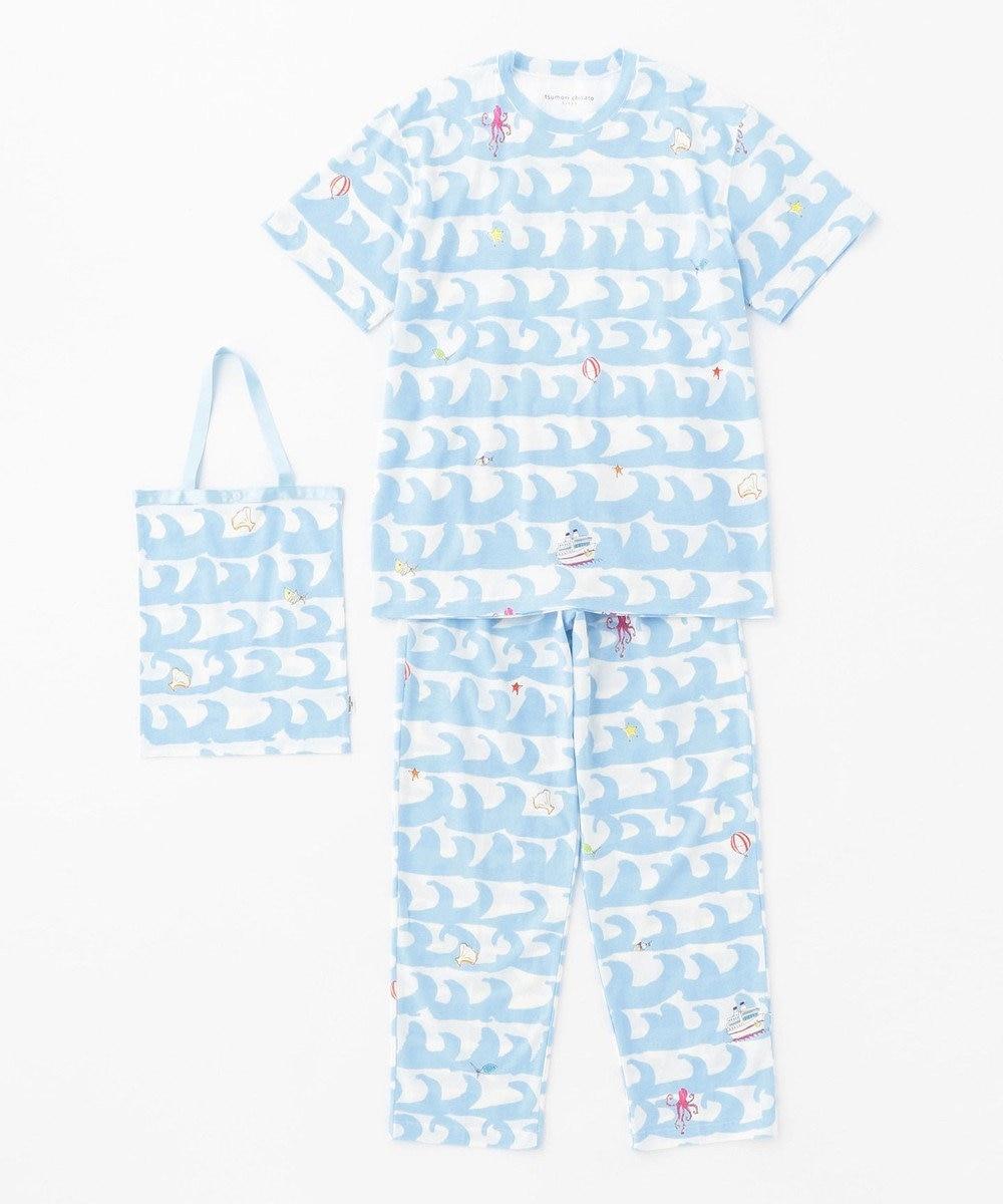 tsumori chisato SLEEP 5分袖+ロング丈  トートバック付  メンズパジャマ/ワコール UGO203 サックス