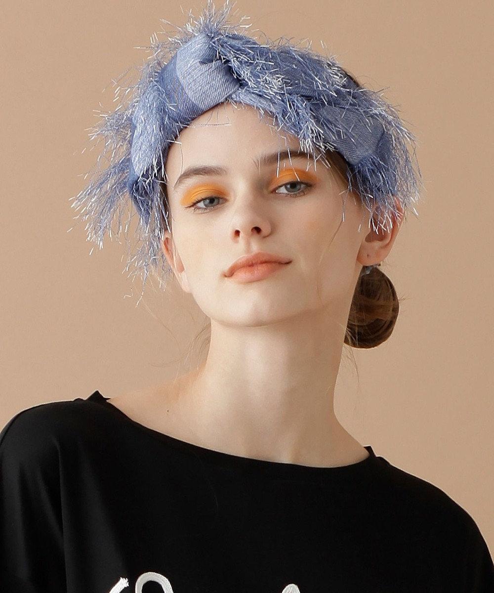GRACE CONTINENTAL デニムプリントヘアバンド ブルー