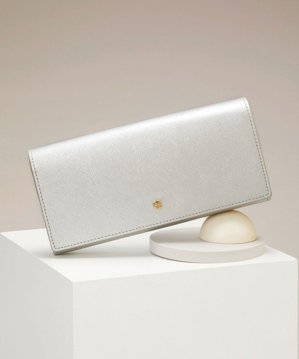 TOPKAPI 角シボ型押し・かぶせのフタ長財布 CLASSICO クラシコ シルバー