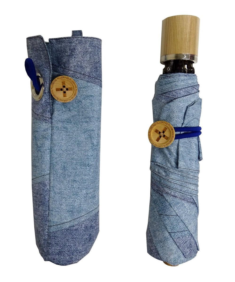 +RING 【限定/日本製】denim-like pattern 晴雨兼用傘(折りたたみ)BLU SR233 青
