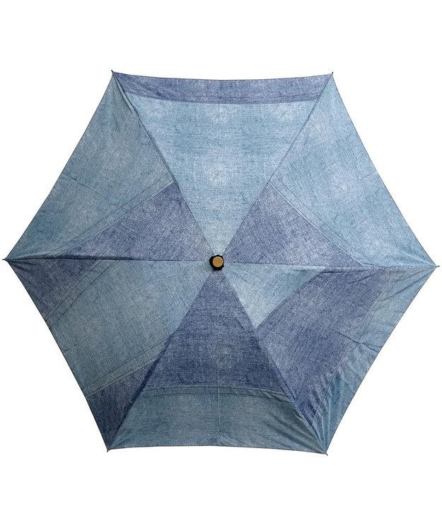 +RING 【限定/日本製】denim-like pattern 晴雨兼用傘(折りたたみ)BLU SR233