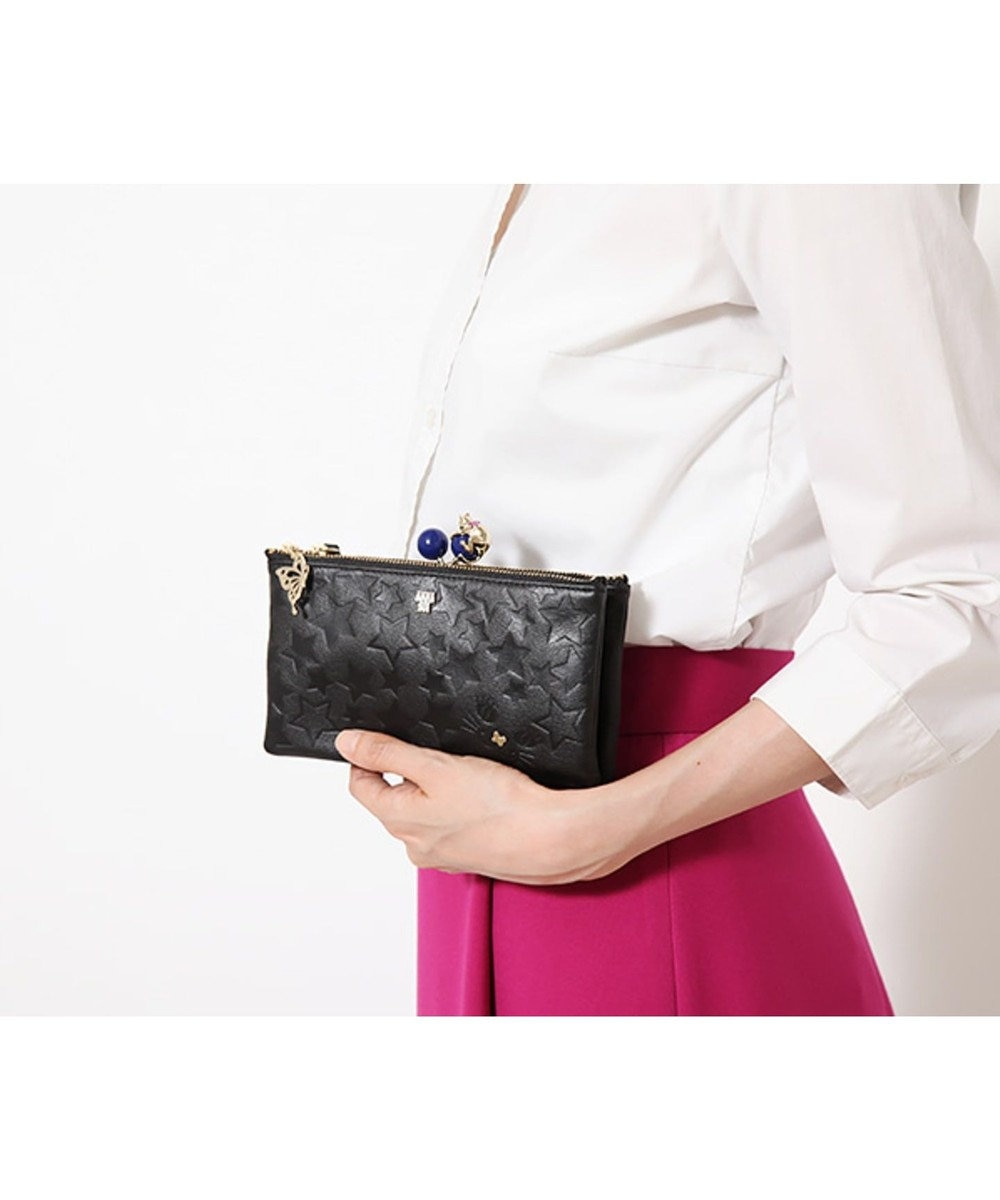 ANNA SUI ANNA SUI アナ スイ プレイングキャット 内口金お財布ショルダー ブラック