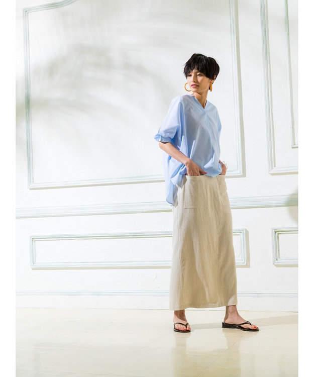 koe リネン混フロントポケットスカート