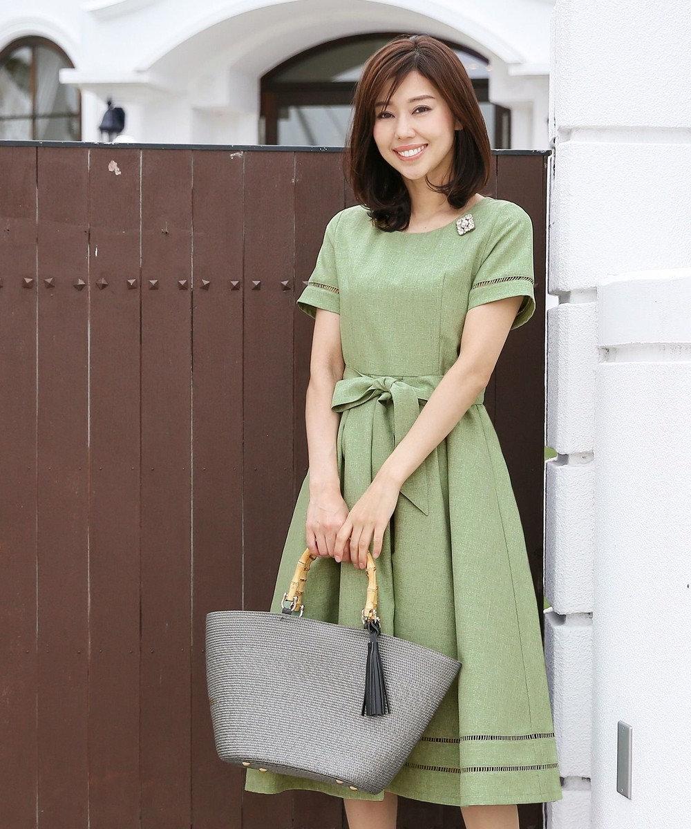 Tiaclasse 【洗える】発色がきれいな麻調ハシゴレースワンピース グリーン
