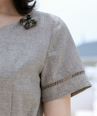 Tiaclasse 【洗える】発色がきれいな麻調ハシゴレースワンピース ブラック