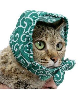 PET PARADISE ネコネスト 猫用ほっかむり 唐草柄 フリー 緑