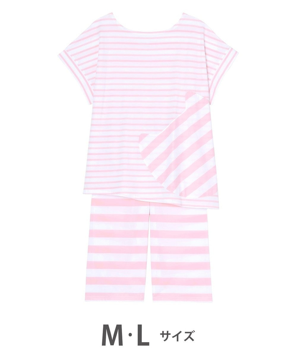 tsumori chisato SLEEP ボーダー 4分袖7分丈パンツ パジャマ/ワコール UDP359 ピンク