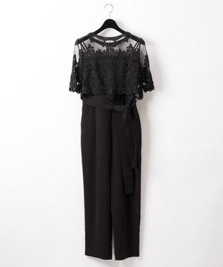 GRACE CONTINENTAL コード刺繍サロペット ブラック