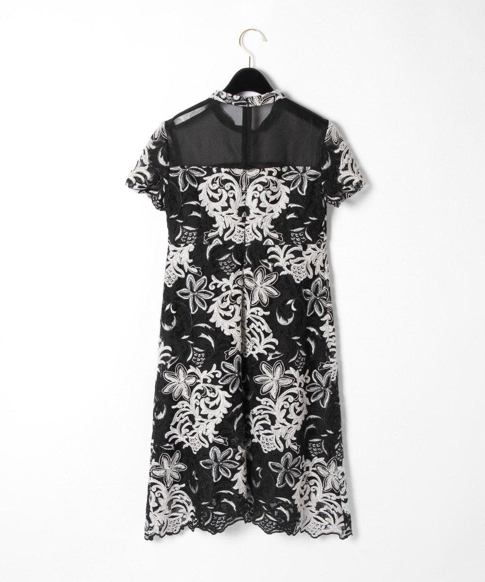 GRACE CONTINENTAL チュール刺繍フレアワンピース ブラック
