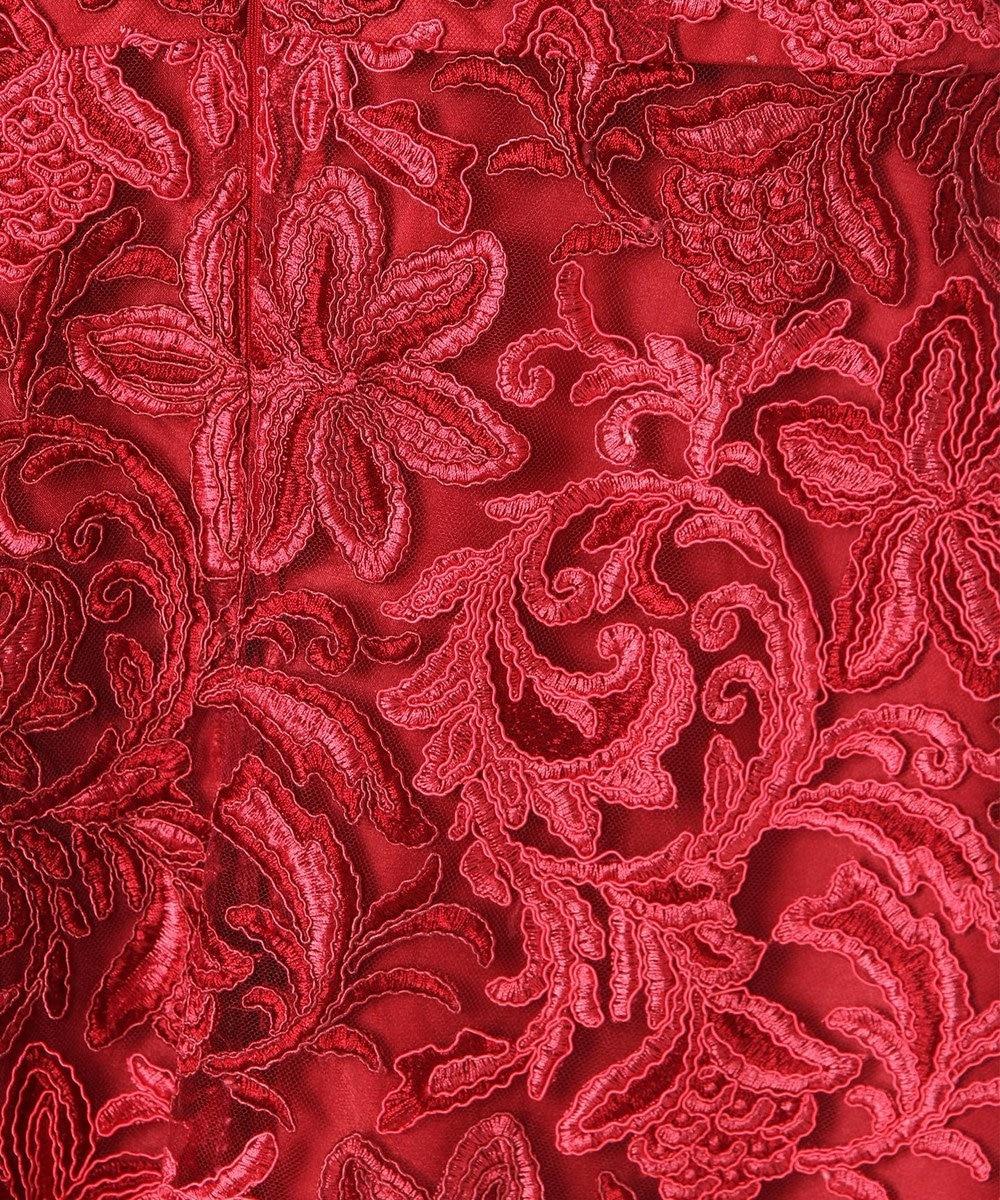 GRACE CONTINENTAL チュール刺繍フレアワンピース レッド
