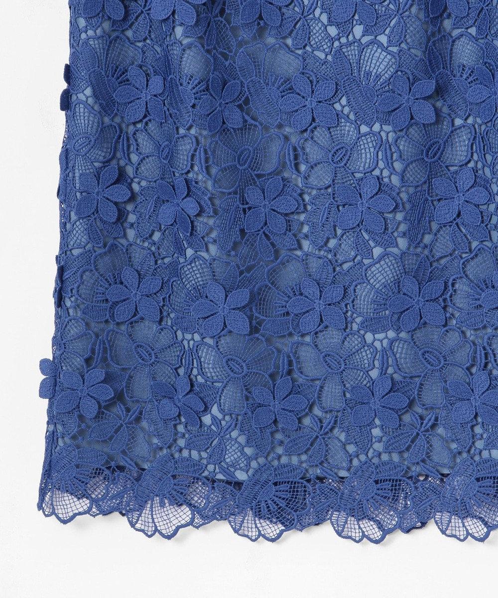 GRACE CONTINENTAL フラワーレースタイトワンピース ブルー