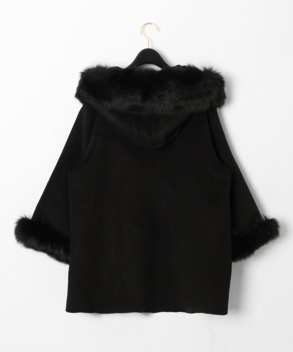 GRACE CONTINENTAL 【ONLINE限定】ポンチョ風トリミングコート ブラック