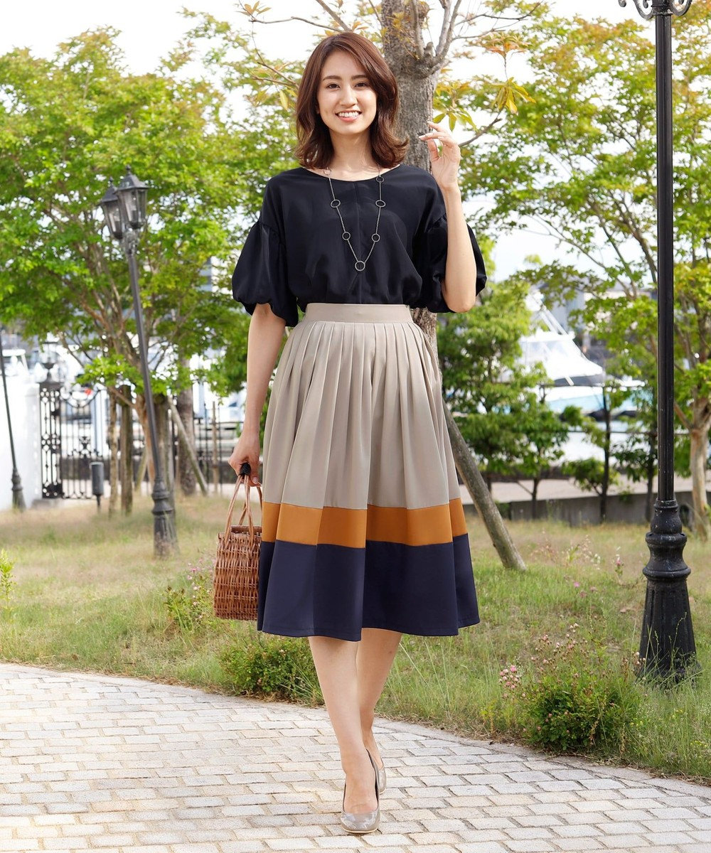 Tiaclasse 【洗える】体型カバーも叶う、マルチカラー切替スカート グレー