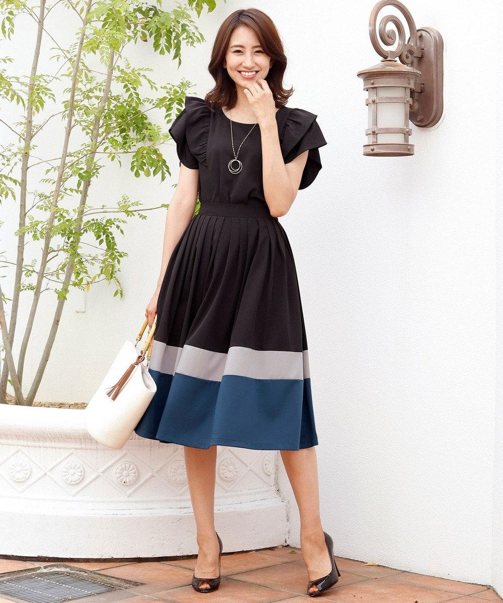 Tiaclasse 【洗える】体型カバーも叶う、マルチカラー切替スカート ブラック