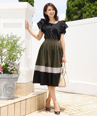 Tiaclasse 【洗える】体型カバーも叶う、マルチカラー切替スカート カーキ