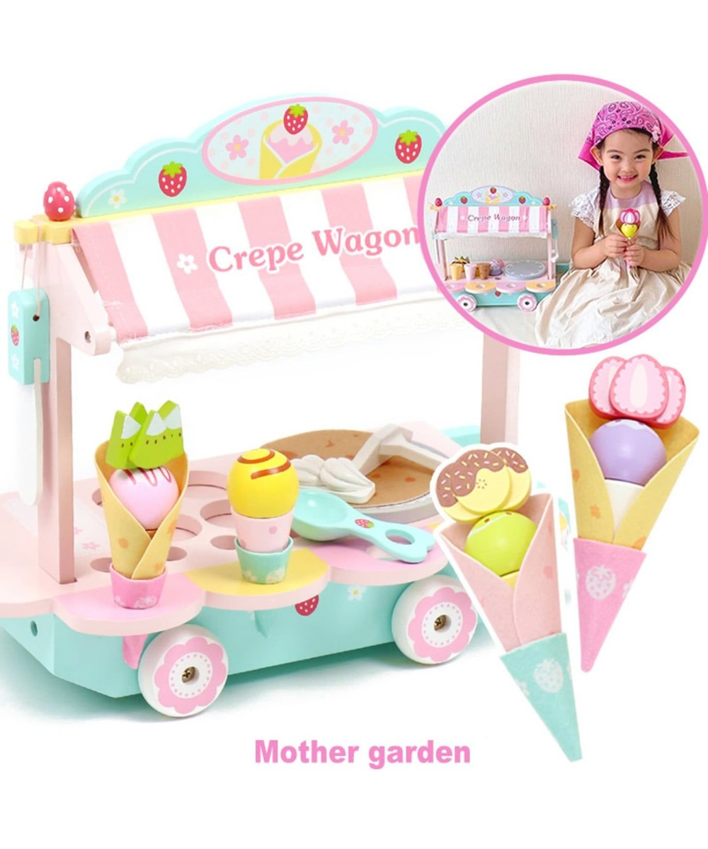 【オンワード】 Mother garden>おもちゃ マザーガーデン 木のおままごと クレープワゴン 水色 0 【送料無料】