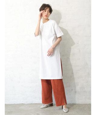 koe 半袖サイドスリットTシャツワンピース White