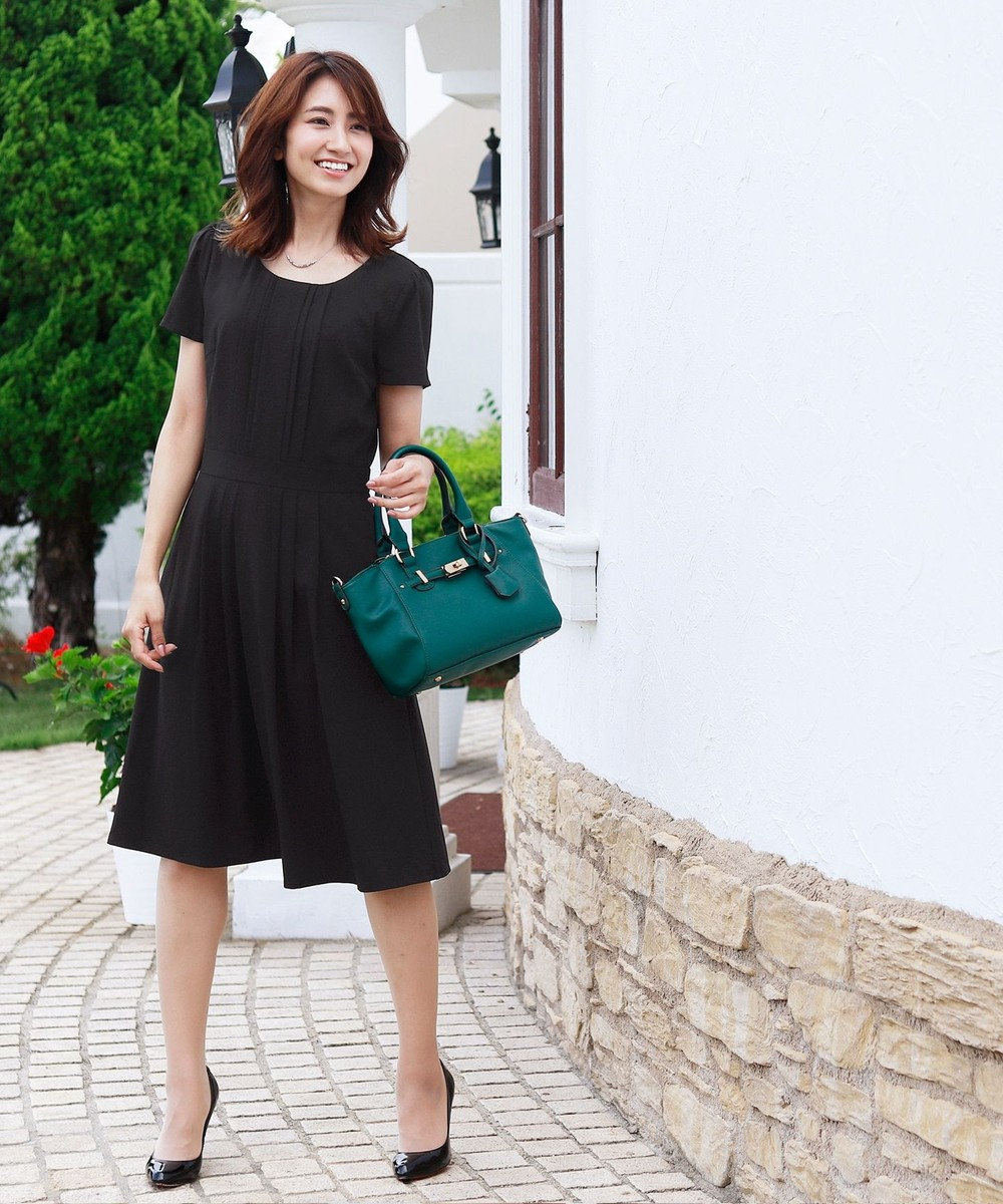 Tiaclasse 【洗える】汎用性高く着用できるタックプリーツワンピース ブラック