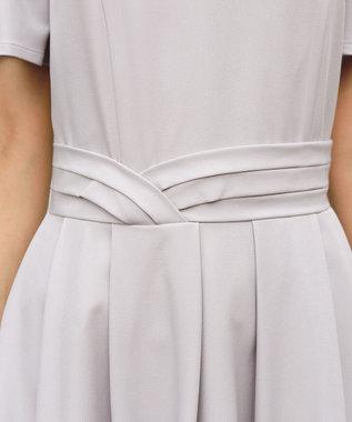 Tiaclasse 【洗える】フレアラインがきれいなタックベルトマキシワンピース グレー