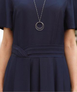 Tiaclasse 【洗える】フレアラインがきれいなタックベルトマキシワンピース ネイビー